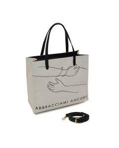 ABBRACCIAMI ANCORA- Tote Bag L-Bianco